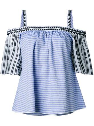 blouse cold blue top