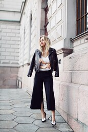 5 inch and up,blogger,jacket,top,shoes,jewels,leather jacket,perfecto,hipster,the kooples,pants,culottes,slit,black culottes,slit pants