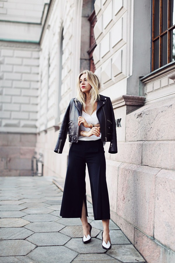 5 inch and up blogger jacket top shoes jewels leather jacket perfecto hipster the kooples pants culottes slit black culottes slit pants
