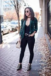 oh va darling,blogger,jacket,belt,jeans,shoes,sunglasses,bag,green jacket,shoulder bag,ankle boots,skinny jeans,spring outfits