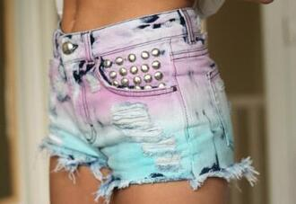 shorts silver rhinestones pink blue ripped shorts dark blue spots
