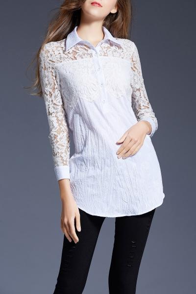 Lace Splicing Long Shirt