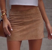 skirt,suede,tan,brown,beige,short,shirt,mini skirt,camel mini skirt bodycon,camel suede skirt,leather skirt,tumblr,pinterest,mini,brown suede,white,white crop tops,gold,fashion,suede skirt,brown suede skir,faux suede,brown skirt,camel,cute,cute outfits,cute skirt,instagram,short skirt,white top,outfit,outfit idea,clothes,tan suede skirt,brown soft,nude,pockets