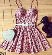 dress,floral,floraldress,cute,cute dress,pink dress,white dress