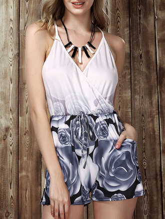 romper floral summer style trendy cool dressfo black and white dress