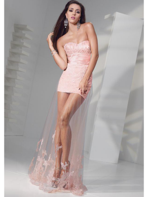 Buy Fashion Sheath Pink Tulle Homecoming Dress under 200-SinoAnt.com