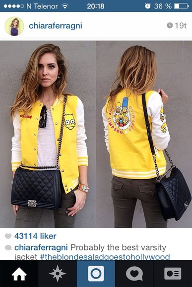 jacket collegejacket bart simpson the simpsons yellow varsity jacket baseball jacket