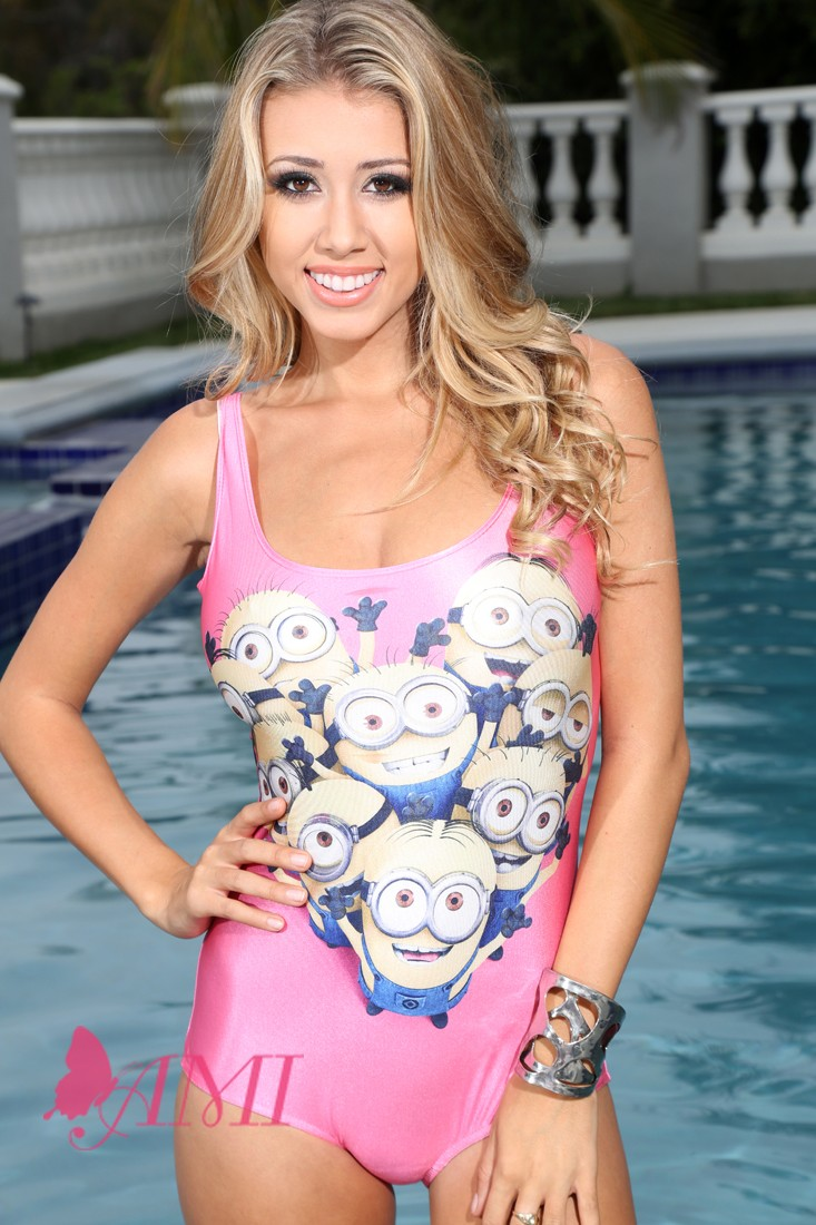 Pink Cartoon Print Sexy 1Pc Swimsuit