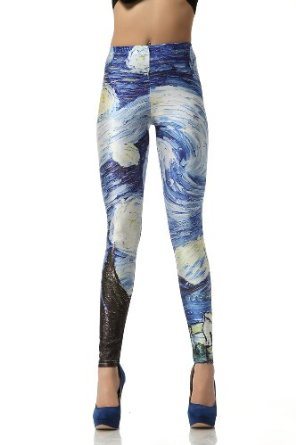 Amazon.com: Solilor Van Gogh's Starry Night Printed Leggings: Clothing