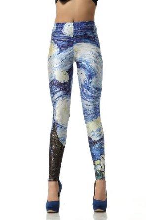 Amazon.com: Solilor Van Gogh's Starry Night Printed Leggings: Clothing
