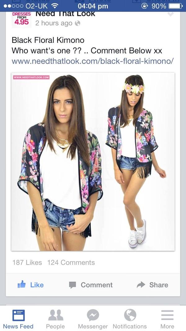 cardigan thin summer beach beachwear bikini flowers flower pattern black see through shorts