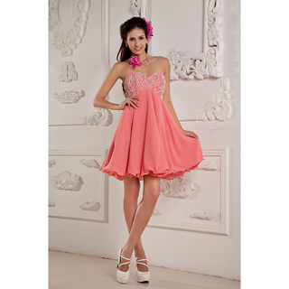 Pink sweetheart elastic woven stain chiffon short mini beading a