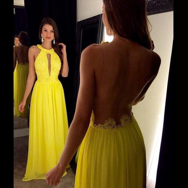 Aliexpress.com : Buy Unique Yellow Prom Dresses With Sleeveless ...