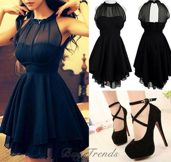 Black Dress Mesh Front Mesh Front Cute Slim Dress For