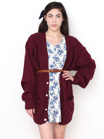 Vintage Burgundy Cable Knit Boyfriend Cardigan | Shop American Apparel