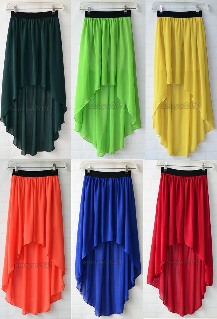 5e94f7258b9a Sexy Asym Hem Chiffon Skirt High Low Asymmetrical Long Maxi Dress Elastic  Waist | eBay