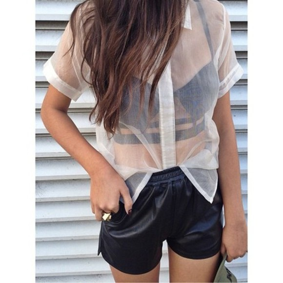 blouse shirt chiffon blouse see through white button up blouse clear button up white blouse shorts tank top bralet bralette crop tops cutout black sheer