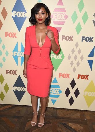 dress meagan good pink coral v neck dress