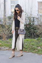 seekingsunshine,blogger,jeans,t-shirt,sweater,shoes,sunglasses,bag,jewels,ankle boots,camo pants,long cardigan,louis vuitton bag,spring outfits