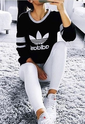 sweater adidas pants white black girl t-shirt shoes shoes adidas tumblr beautiful jeans top grey shirt cute streetwear streetstyle athletic long sleeves outfit stay classic sportswear sporty adidas sweater black and white branded minimalist originals clean sharp casual street adidas originals black sweater
