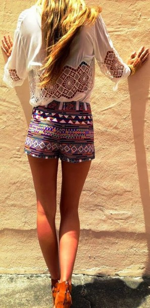 shorts summer colorful design aztec tribal pattern swimwear