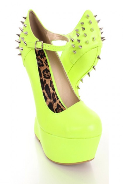 Neon Yellow Spiked Anti Gravity Wedges Faux Leather