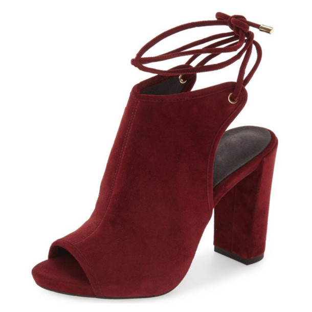 Shoes: burgundy, suede, open toes, boots, ankle boots, suede boots ...