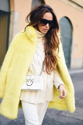 stella wants to die blogger pants shoes bag coat sunglasses faux fur coat yellow coat winter outfits crossbody bag