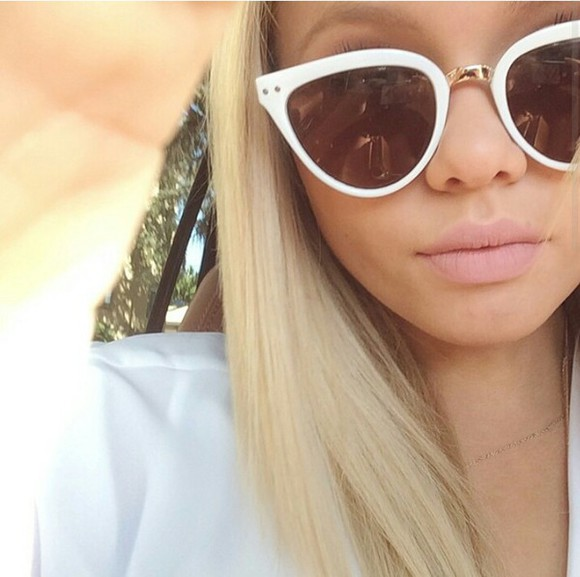 sunglasses cat eye white sunglasses sunglasses cat eye girly girl fashionable shopping festival top bottom outfit blonde alli alli simpson make-up