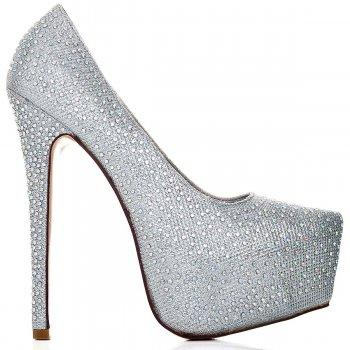 Buy CATWALK Stiletto Heel Platform Court Shoes Silver Glitter Online