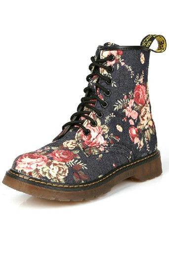 Retro Floral Print Martin Boots [FABI1237] - PersunMall.com