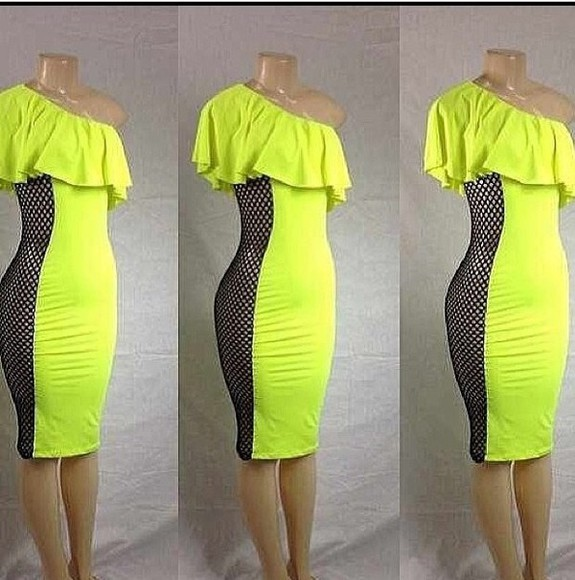 dress one shoulder lime green netted dress bodycon ruffle