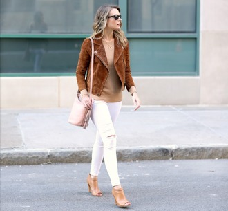 pennypincherfashion blogger jacket sweater jeans shoes bag jewels white pants shoulder bag booties brown jacket