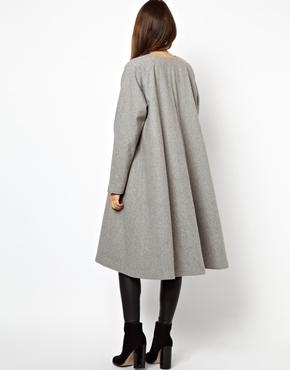 Monki | Monki Collarless Maxi Coat at ASOS