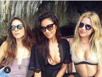 swimwear ashley benson bikini bikini top troian bellisario shay mitchell pretty little liars sunglasses top summer instagram