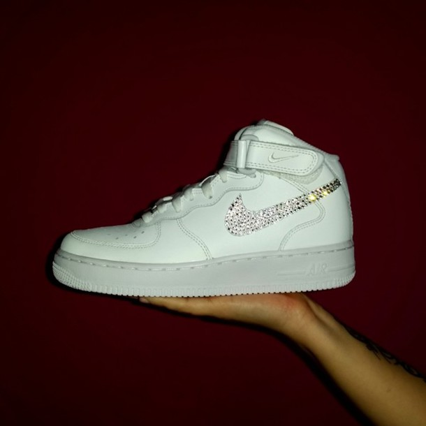 nike air force one 1 white mid custom swarovski crystal