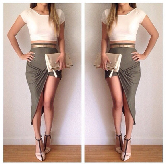 shoes bag Belt girl skirt outfit style top high heels clutch accessories