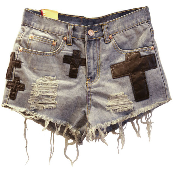 Frayed Edge Denim Shorts with Applique Cross Details - Polyvore
