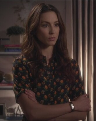 dress orange print flowers print troian bellisario pretty little liars spencer hastings bag