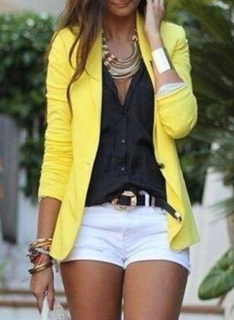 jacket yellow yellow jacket blazer summer outfits fall outfits clubwear outfit clothes fashipn fashion gold jewels necklace black white white shorts shoes top blouse