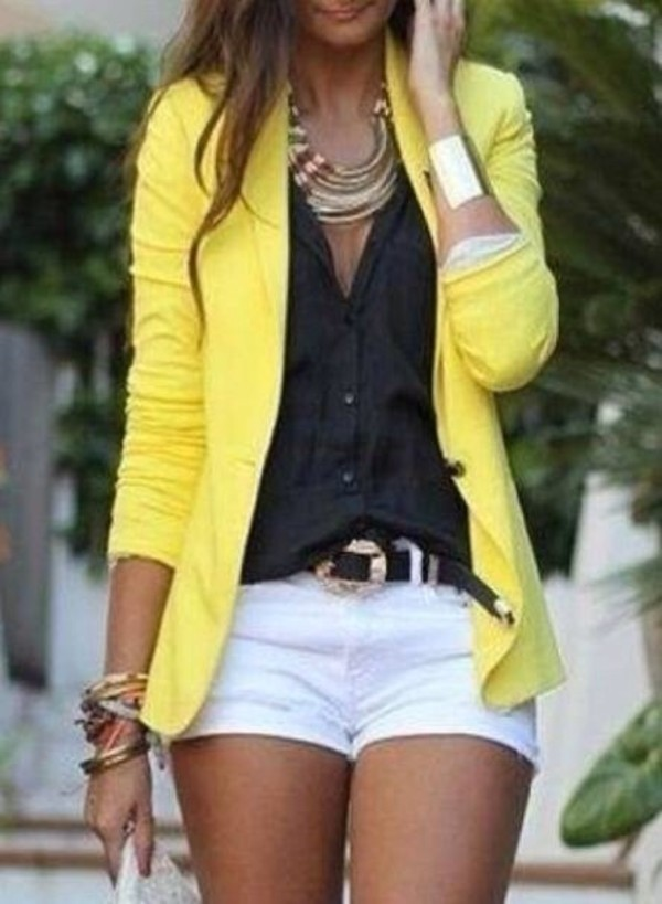 blouse shoes sandals jewels belt jacket yellow blazer beautiful womans blazer blazer shirt big necklace gold belt white shorts indie bag metallic bronze sandal yellow neon yellow sweater shorts bag coat cardigan yellow jacket summer outfits fall outfits clubwear outfit clothes fashipn fashion gold necklace black white top neon yellow blazer black blouse casual