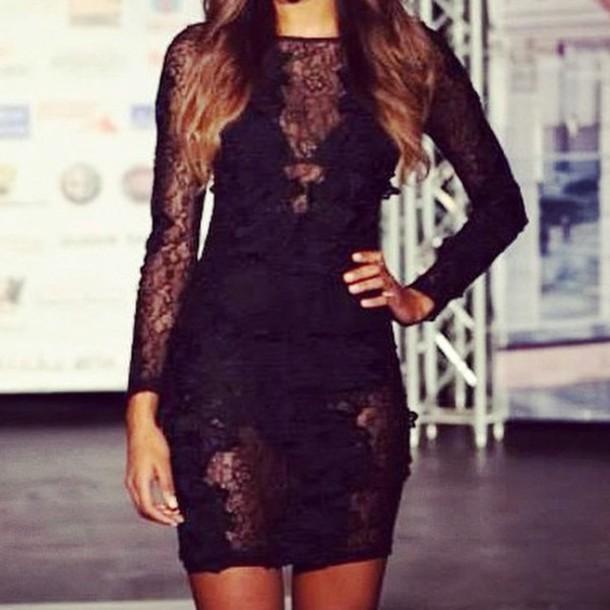 4d23cf9a15b0 dress lost souls black dress black lace dress flower detail long sleeves  long sleeve dress sexy