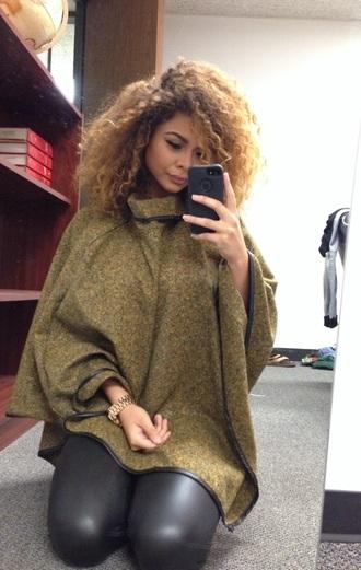 sweater crystal westbrooks green sweater cape coat poncho turtleneck coat