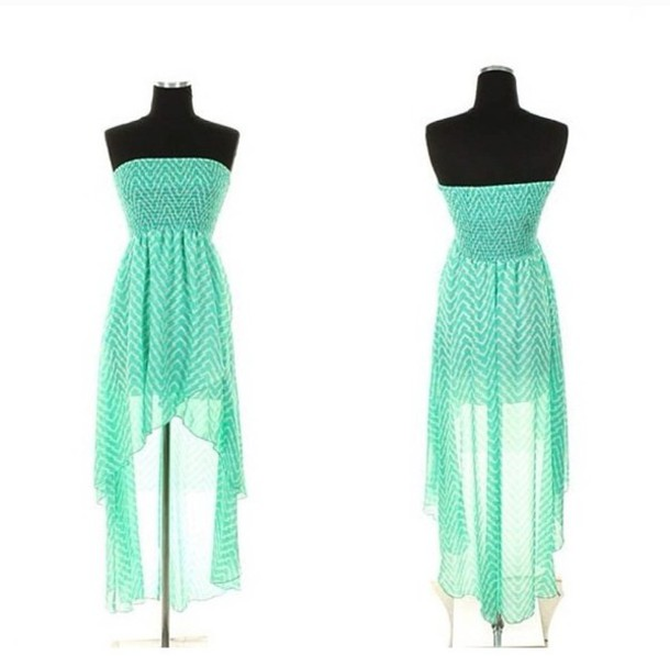 Dress: chevron, mint and white, mint, high-low dresses, strapless ...