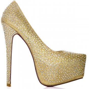 Buy CATWALK Stiletto Heel Platform Court Shoes Gold Glitter Online