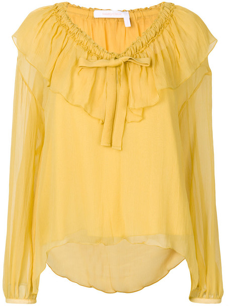 See by Chloe blouse women cotton yellow orange top
