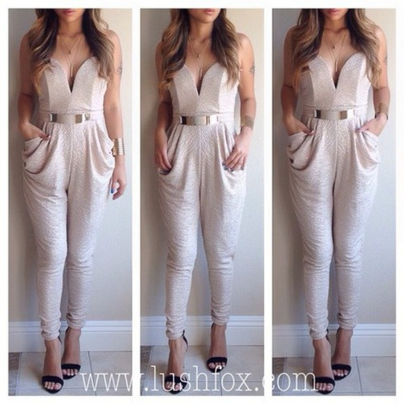 tank top jumpsuit prom dress outfit help me please! gold belt