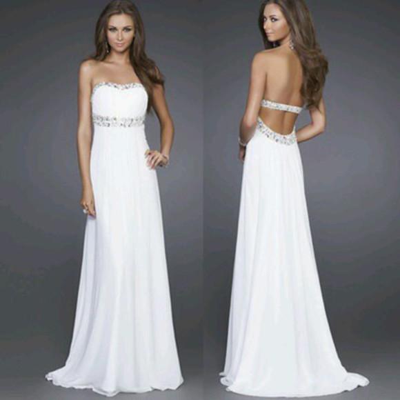 prom dress wedding clothes gems classy elegant dress white dress