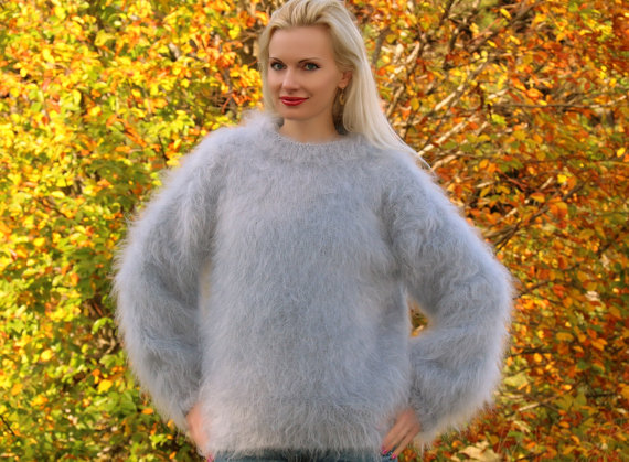 Fuzzy Hand knitted mohair sweater in gray by by supertanya on Etsy