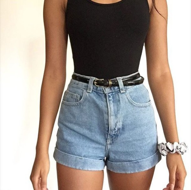 shorts denim baggy light blue washed high waisted